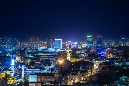 View of the Bosnian city of Sarajevo at night