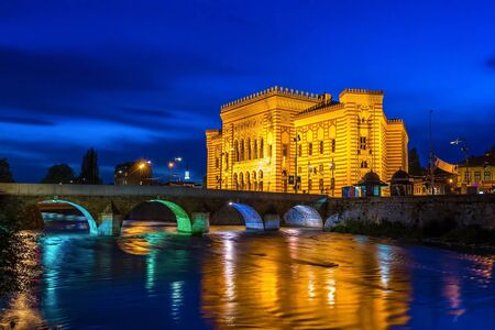 Old National Library in Sarajevo at night