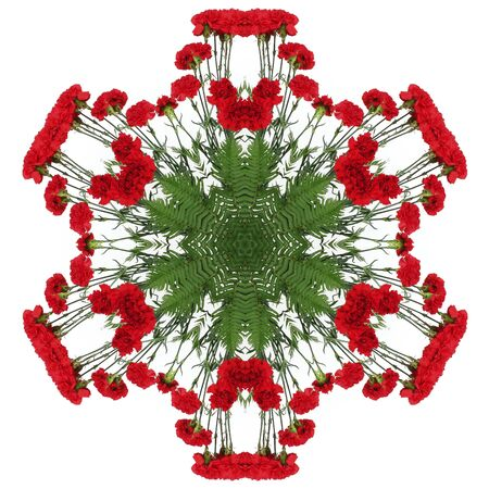 Red flowers carnations in the form of a picture of a kaleidoscope