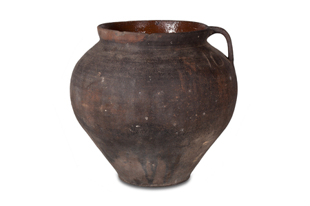 Old clay pot on a white background