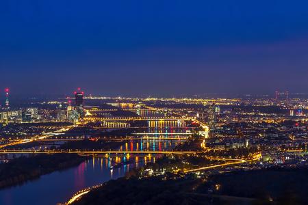 Panorama of Vienna at night Stock Photo