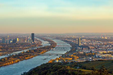 Panorama of Vienna in the evening Stock Photo
