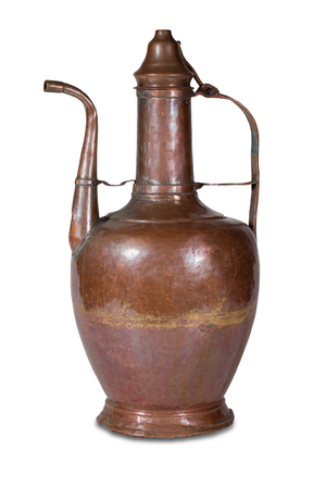 Old copper jug with a lid on a white background Stock Photo