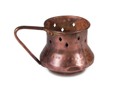 Old copper lamp stand on white background