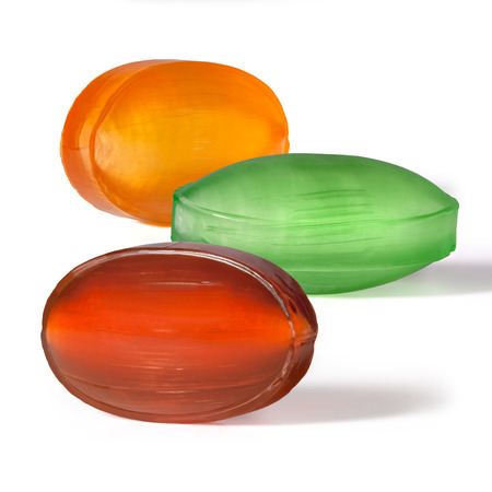 Multi colored fruit caramel with filling, hard sugar candies, boiled sweets Banco de Imagens