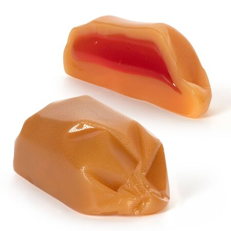Two candies milk toffee with fruit filling