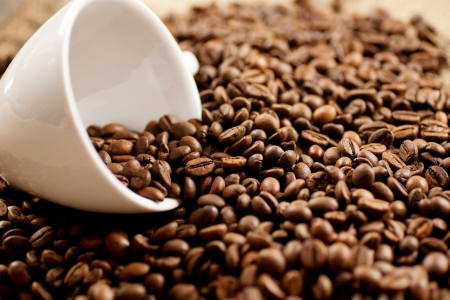 addictive drinking: White coffee mug laying in a pile of roasted coffee beans Stock Photo
