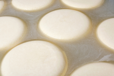 Close up shot of cheese processing fermenting milk photo