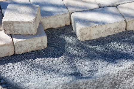 kerb: Paving stones on a construction site of a new pavement