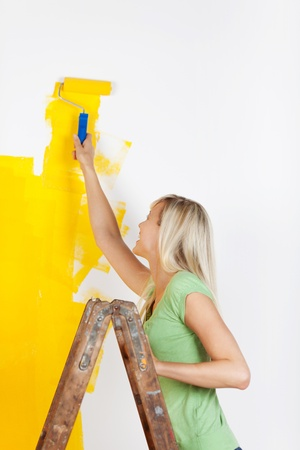 Woman standing on a ladder painting a white wall with a vibrant yellow paint using a roller as she redecorates her house Stock Photo - 20659775