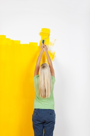 Rear view young woman putting a yellow paint on the wall Stock Photo - 20662815