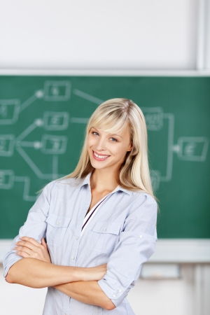 vivacious: Student female arms crossed inside the classroom