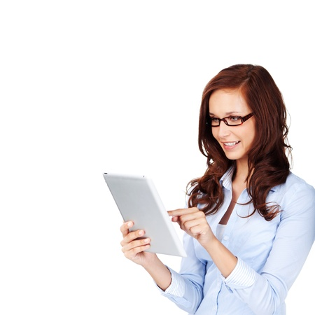 curly hair woman: Curly hair woman with glasses browsing using her  touch Stock Photo