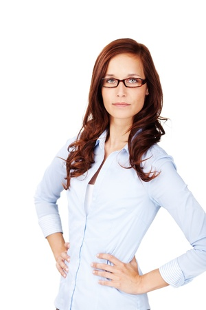 assertive: Image of a beautiful young woman with specs, posing with her hands on the waist .