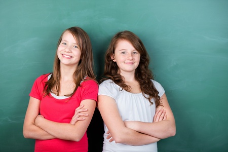 Two students posing with arms crossed in front of the panel Stock Photo - 20736085