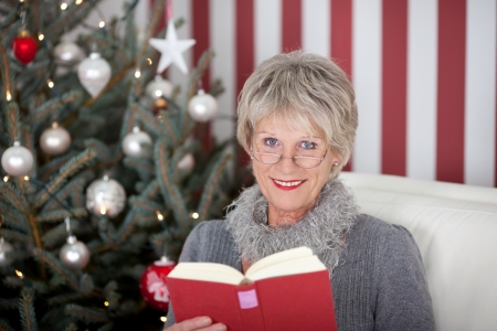 Senior woman enjoying a book at Christmas relaxing on the sofa in front of a decorated tree in her living room, red and white themed Stock Photo - 20771802