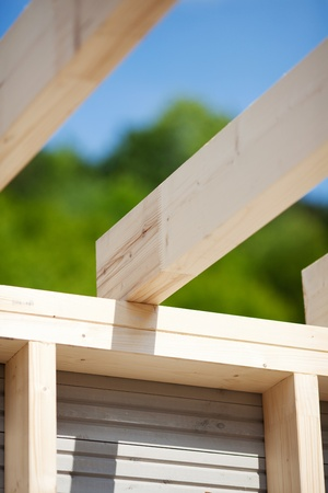 roof beam: Detail of the roof beams of an unfinished roof with trees and sky in the background Stock Photo