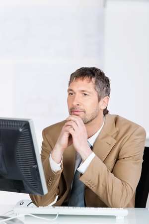 bearded: Serious mature businessman looking at computer screen in office