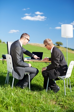 grass  plan: Businessman holding a blue folder while looking at the computer outdoors Stock Photo