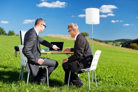 Dos empresarios que trabajan con el portátil en un prado verde