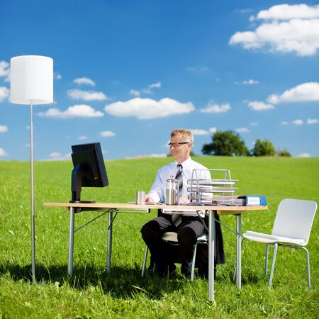 Young businessman working in the office on green meadow photo