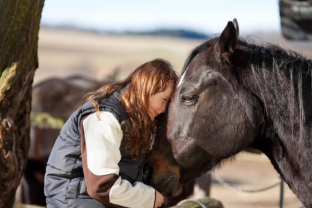 Young girl sitting in the wooden paddock fence pets her dark bay horse photo