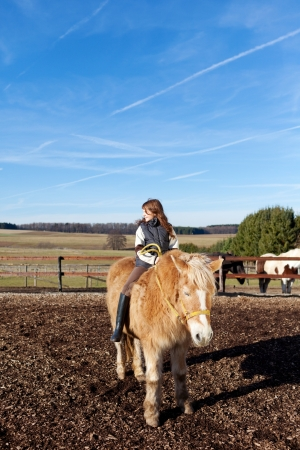 pony ride: Pretty young girl riding a horse on the paddock on a sunny day
