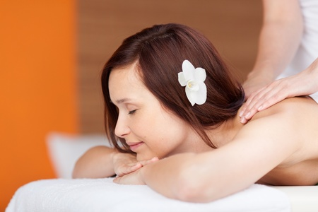 Beautiful young woman having back massage in spa Stock Photo - 21148873