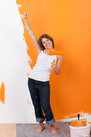 exultant: Girl is happy, that paint job is almost done