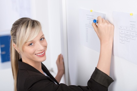 Smiling businesswoman writes something on the chart photo