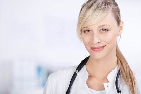 Portrait of smiling blond doctor in a close up shot Stock Photo - 21165137