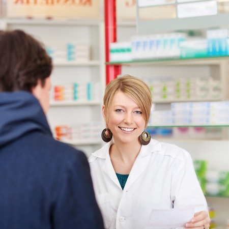 costumer: pharmacist in a consultation with costumer