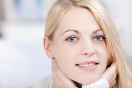 wei: Head shot of beautiful smiling adult blond woman Stock Photo