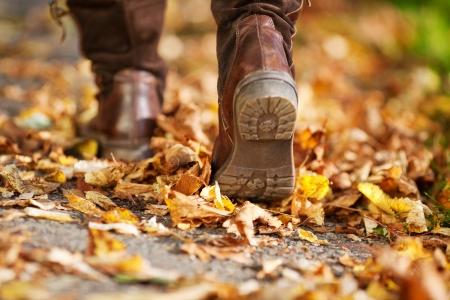 秋の間に死んだ葉の完全な通りを歩いて女性 写真素材