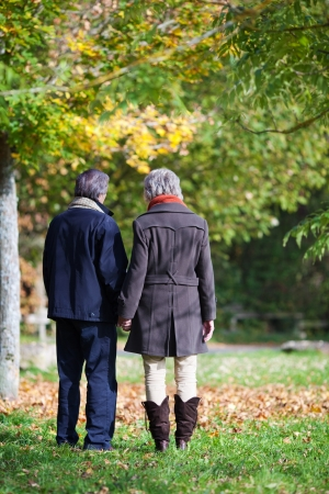 A senior couple walking in the forest together photo