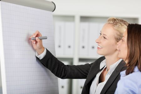 Smiling businesswoman writing on a flipchart in office photo