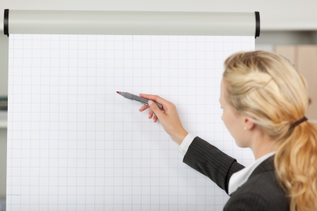 flip chart: Portrait of young blond businesswoman writing at flip chart in office