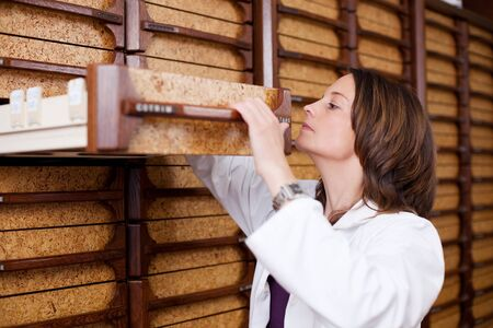 stockroom: Mid adult female pharmacist searching medicines in drawer at stockroom