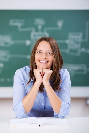 Portrait of confident female teacher with hands on chin sitting at classroom desk Stock Photo - 21175913