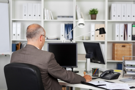Rear view of mature businessman working at desk in office photo