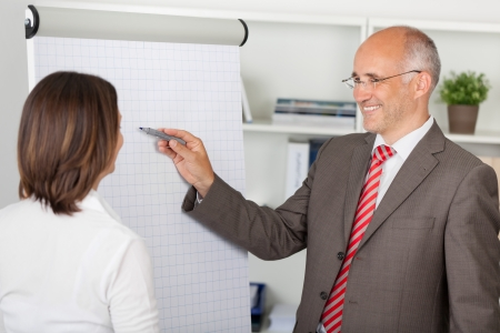 two businesspeople working with flipchart in the office photo
