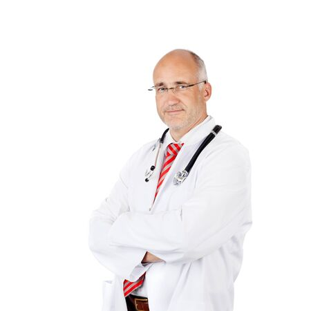 Portrait of confident male doctor with arms crossed standing over white background photo