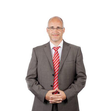 confident businessman, portrait waist-up in studio photo