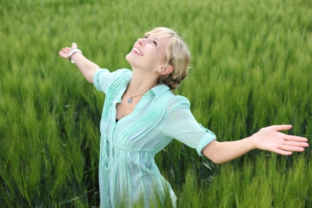 rejoicing: Close up portrait of young happy woman in Greenfield