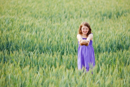 Young girl holding out a loaf of freshly baked bread in her outstretched hands in a wheatfield photo