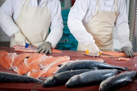 Buik van werknemers snijden vissen op tafel Stockfoto