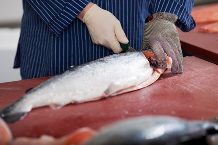 close-up of a worker cutting salmon on a board photo