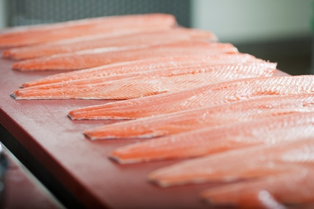 Selective focus of sliced fishes on table photo