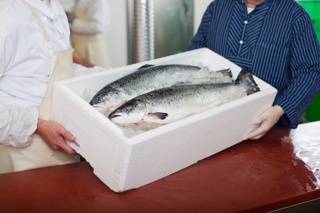 Midsection of workers carrying fish container at table photo