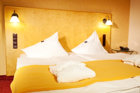 Inter of arranged bed in hotel room Stock Photo - 21219271